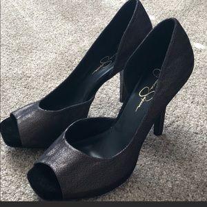 Jessica Simpson peep toe gold/black heels